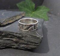 Schöner 925 Silber Ring Mystisch Muster Struktur Ethno Matt Glänzend Modern Top