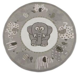 Elephant Ganesh 5' x 5' Round Handmade Kids Style Woolen Area Rugs & Carpets