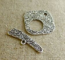 Antique Silver Square Toggle Clasp - 15 sets