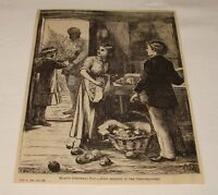 1880 magazine engraving ~ BRINGING IN THE CHRISTMAS TREE