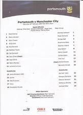 Football Team Sheet - Portsmouth v Man City - Premiership - 2007