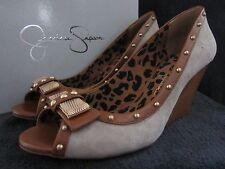 JESSICA SIMPSON Neeson Grey Kid Suede Open Toe Wedge Heels Shoes US 8.5 M NWB