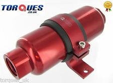 AN -12 (JIC -12 ORB-12) Red Anodised Billet Fuel Filter 30 Micron And Cradle