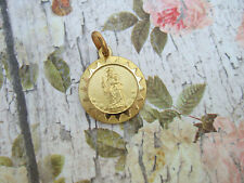 Vintage Catholic Medal Our Lady of Mount Carmel Virgin Mary 14mm Gold finish