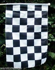 "BLACK & WHITE CHECKERED HAND FLAG 18"" X 12"" WITH 24"" WOODEN POLE MOTOR SPORT"