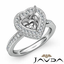 Diamond Engagement Halo Ring 0.89Ct Platinum 950 Heart Shape Semi Mount VS1-VS2