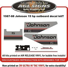 1987 1988  JOHNSON 15 hp  DECAL SET OUTBOARD STICKERS REPRODUCTIONS