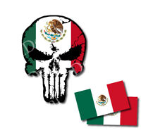 Mexico Flag Punisher Skull Two Flags Vinyl Decal Sticker Jeep Truck Car Decal 3M