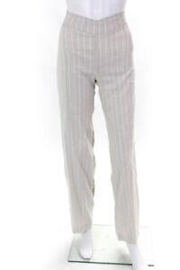 Avenue Montaigne Womens Linen Glimmer Stripe Wide Leg Casual Pants Beige Size 2