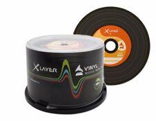 100 XLAYER Noir Bas Vinyle CD-R CD Vierge Disques 48x 700 Mo look rétro