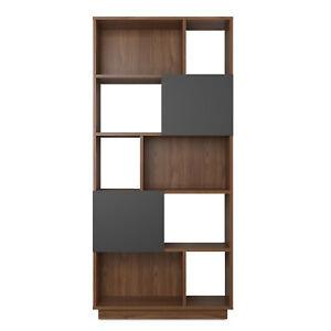 Walnut & Grey Johnson Narrow Bookcase