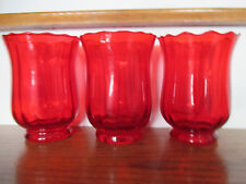 "Vintage Ruffled Top Swirl Pattern Red Glass Flower Vase 5 7/8"" Tall Lot of 3"