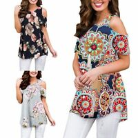 Women Printed Sleeveless Casual Shirt Bare Shoulder Loose Tunic Blouse Tops Vest