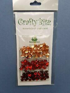 150 Red and Orange Star Craft Gem Embellishment, 3 colours (C01)