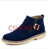 Mens Casual ankle short  Boots suede Buckle outdoor shoes zipper British plus sz