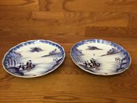 "Matching Pair of Antique Chinese Asian Blue and White 11 1/4"" Dia. Deep Charger"