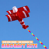 3D Single Line Red White Kites Outdoor Fun Sports Beach Kite 100m Line Gift