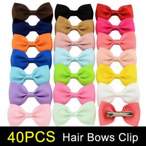 40PCS Handmade Bow Hair Clip Alligator Clips Girls Ribbon Kids Sides Boutique