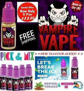 Vampire Vape E-Liquid 5 x 10ml Heisenberg Pink Blackjack Ice Menthol Dawn ejuice