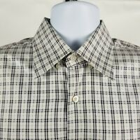 Canal Italy Mens Black Beige Cream Check Plaid Dress Button Shirt Sz XL