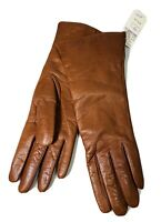 New NWT Vintage Bonwit Teller Womens Brown Leather Cashmere Lined Gloves Sz 7