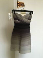 Authentic Herve Leger Ombré Strapless Cocktail Dress Size XXS - Rare Style