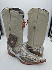 Men's Cowboy Boots Genuine Python Skin Natural/Silver 8