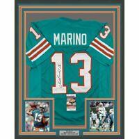 FRAMED Autographed/Signed DAN MARINO 33x42 Miami Teal Football Jersey JSA COA