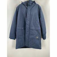 WeSC Mens Blue Fleece Lined Winter Parka Full Zip Hooded XL