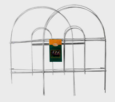 Panacea WHITE GARDEN FENCE Folding Wire Double Arch Walkway Bed Edging 8' x 18""