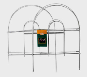 """Panacea WHITE GARDEN FENCE Folding Wire Double Arch Walkway Bed Edging 8' x 18"""""""