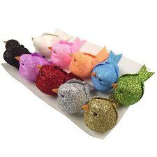 Set of 10 Glitter Fat Robins! Artificial Glitter Craft Birds Set