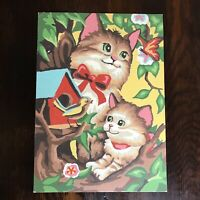 Vintage Paint By Numbers Cat Kitten PBN Complete Painting Picture Bird Birdhouse