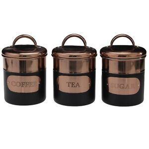 Set of 3 Stainless Steel Copper Black Tea Sugar Coffee Canisters Kitchen Storage