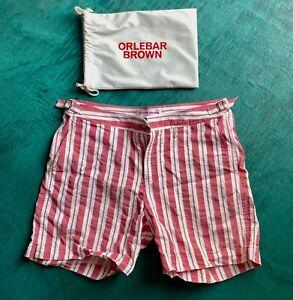 Orlebar Brown Men's Bulldog red/white striped swim shorts, size 32 - perfect
