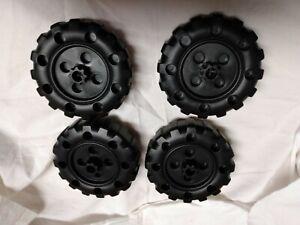 Plastic Tinker Toys Part Lot: 4 Black WHEELS Pieces