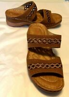 """Lostisy Women's Shoes Brown Open Toe Slide 2"""" Heel Size EUR 39 or US 8.5"""