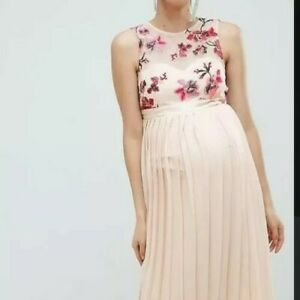 Little Mistress Maternity Floral Pleated Embroidered Maxi Dress Size 8 NEW