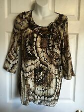 NICOLA Crinkled Frilly Hanging Trim Neckline   Semi Sheer Career Blouse - Size M
