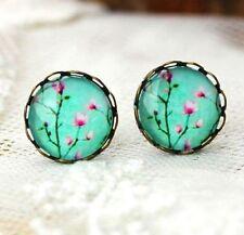 Elegant Flora Earring Vintage Retro Bronze Earring Studs Glass Gem Jewelry ♫