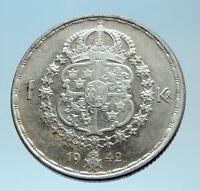 1942 Sweden GUSTAF V Silver Krona Crowned ARMS Antique Vintage Coin i78088