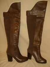 DOLCE VITA Brown Suede & Leather Chunky Heel Over Knee Boots w/ Braid - 6.5 M