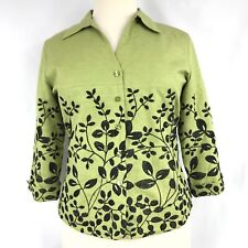 Silk Land Women Blazer Silk Embroidered 3/4 Sleeve Button Front Size XL