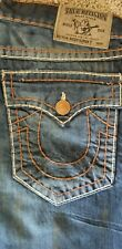 True Religion Mens Jeans Distressed Ricky Super T w/flap 36 Dark Blue NWOT