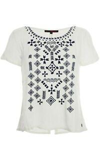 Tom Tailor Bluse T Shirt Tunika Damen Kurzarm Weiß Rundhals
