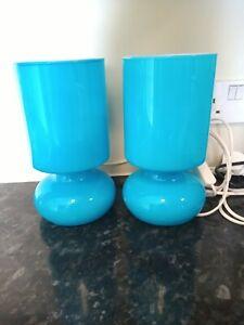 Retro, IKEA lykta, mushroom, Murano style, handmade, turquoise blue, glass lamps