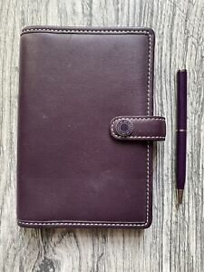 Coach Wine/Mahogany Leather Address Book/Planner/Organizer 3.5 x 5.5 with pen