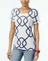 Tommy Hilfiger Cotton T-shirt Top Women's White Printed Blue Ropes Medium1