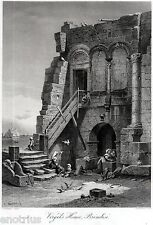 Brindisi:Virgil house.Picturesque view.Great steel engraving + Passepartout.1878