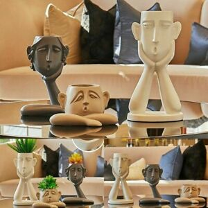 1 Set People Face Vase Ceramic Creative Pot for Home Craft Room Desk Decoration